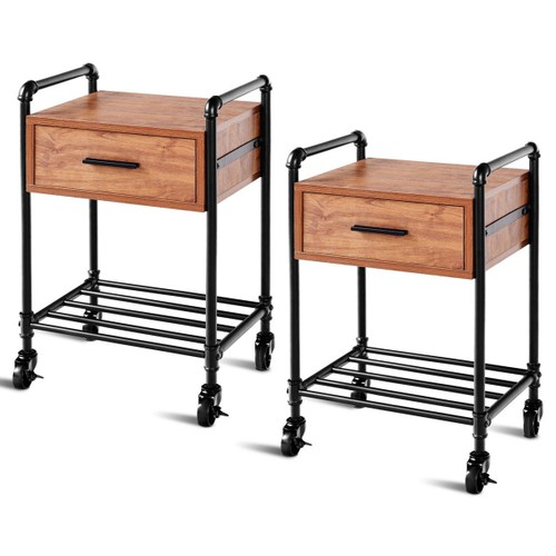 Costway 2PCS 2-Tier End Coffee Table Nightstand Sofa Side Living Room W/Dra