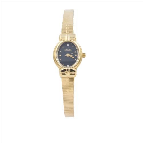 Sicura Womens Watches SJD1972-BK Quartz Stainless Steel Gold Tone