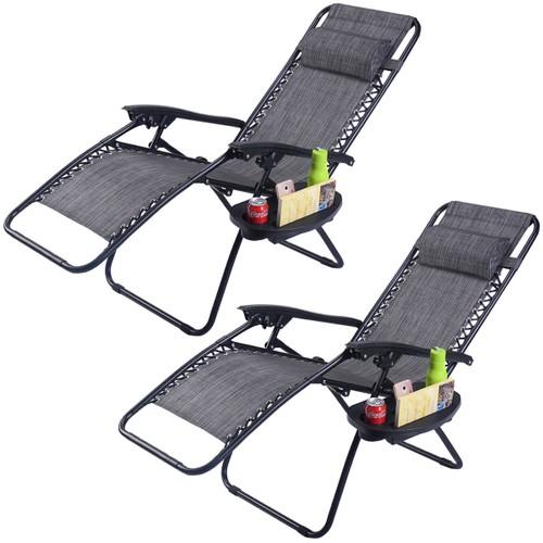 Costway 2PC Folding Zero Gravity Reclining Lounge Chairs Beach Patio W/Util