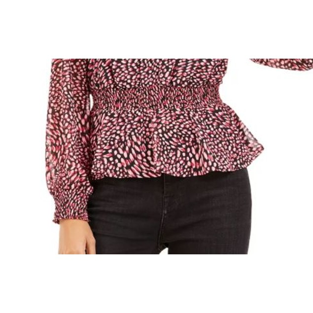 Bar III Women's Ditsy Print Low Back Ruffled Top Dark Red Size Small