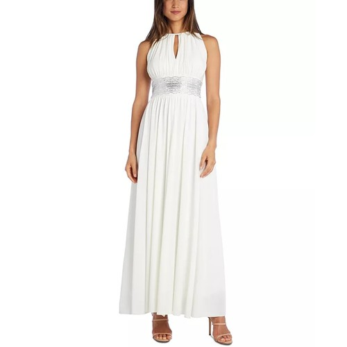R & M Richards Women's Embellished Keyhole Cutout Gown White Size 8
