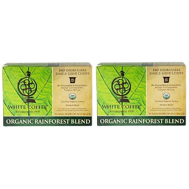 White Coffee Organic Rainforest Blend K Cups 2 Box Pack