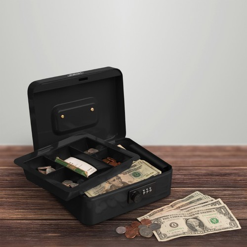 Cash Box  Locking Money Safe with Removable 5 Slot Coin Tray