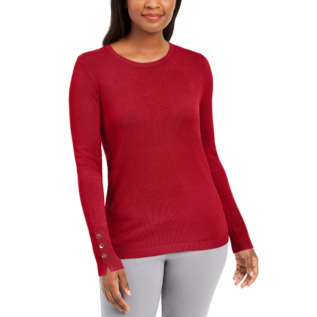 JM Collection Women's Button Cuff Crewneck Sweater Red Size X-Large