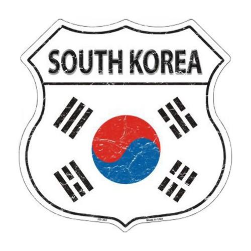 Smart Blonde South Korea Country Flag Highway Shield Metal Sign HS-303