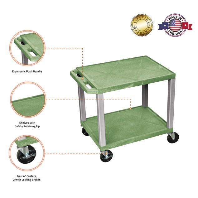 """Luxor 26"""" Two Flat Shelves AV Cart - Nickel Legs, Green"""