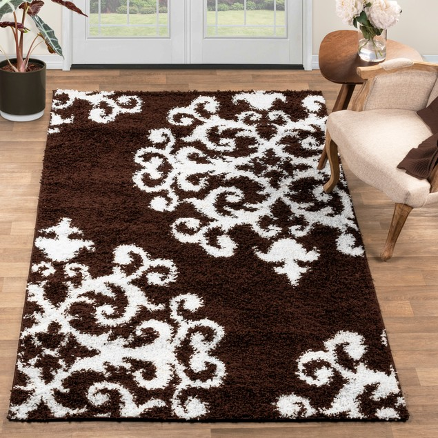 Victorian Tufted Shag Formal Traditional Damask Area Rug