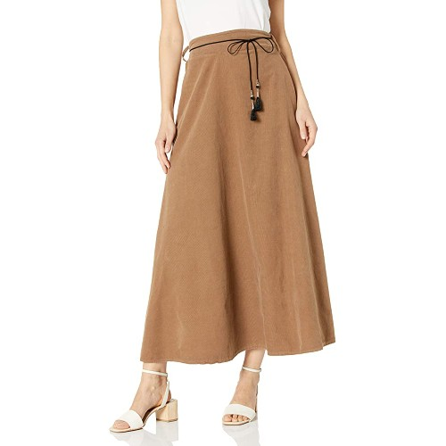 M Made in Italy Women's Pull On Closure Maxi Corduroy Maxi Skirt, Large,