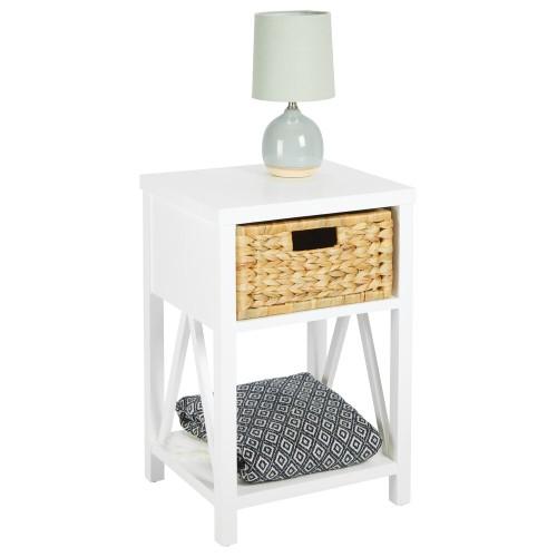 mDesign Wood Single Drawer Side Table and Basket Storage Unit