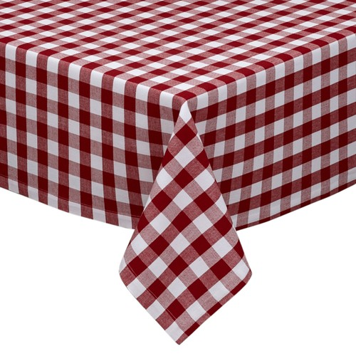 Buffalo Check Plaid Cotton Blend Fabric Tablecloth - Multiple Sizes
