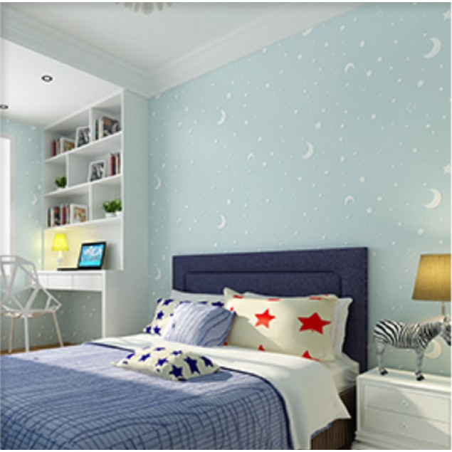 """Stars and Moons Fluorescent Wallpaper for Kids Bedroom, 20.7"""" x 32.8'"""