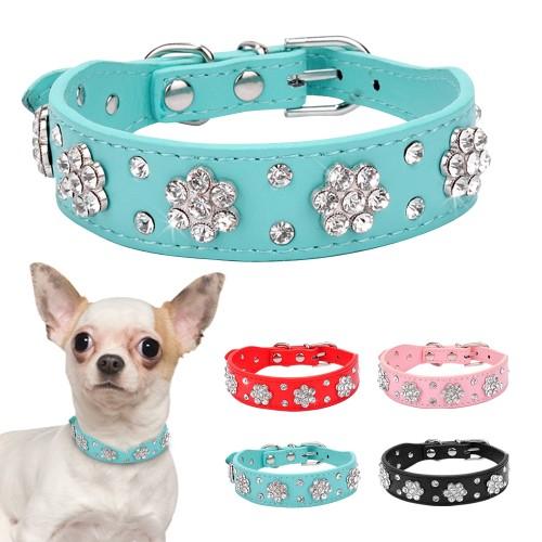 4 Colors Adjustable Pet Collar Dog Cat Rhinestone Collar