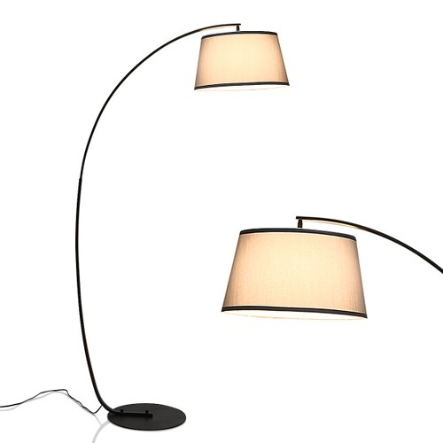 Costway Arc Floor Lamp with Hanging Fabric Lampshade & Sturdy Base Modern D