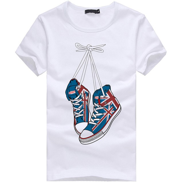 Men Boy Plus Size Shoes Print Tees Short Sleeve Cotton T Shirt Blouse Tops