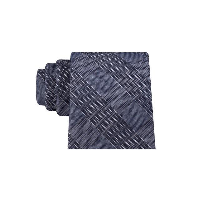 Calvin Klein Men's Graphite Classic Plaid Tie Black Size Regular