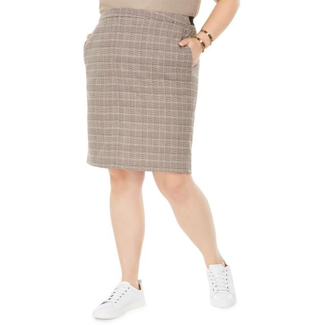 Bar III Women's Trendy Plus Size Plaid Pencil Skirt Brown Size 24W
