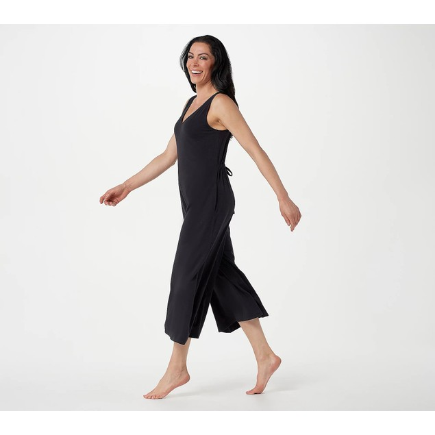 AnyBody Cozy Knit Wide-Leg Jumpsuit with Back Tie Detail, Small, Jet Black