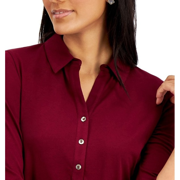 Charter Club Women's Knit Polo Shirt Wine Size XX-Large