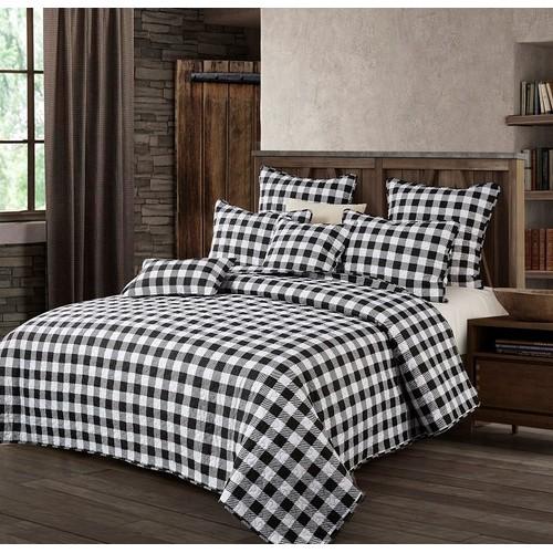 Spura Home 3-Piece Bedspread Indian polyester Black & White Plaid Quilt Set