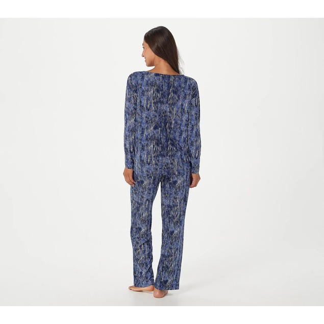 Carole Hochman Textured Feather Soft Semi-Fitted Jersey Lounge Set, XL,