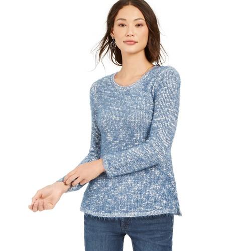 Style & Co Women's Marled Eyelash-Texture Sweater Blue Size Medium