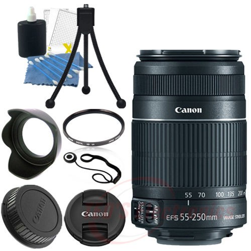 Canon EF-S 55-250mm f/4-5.6 IS II SLR Camera Lens +Accessories