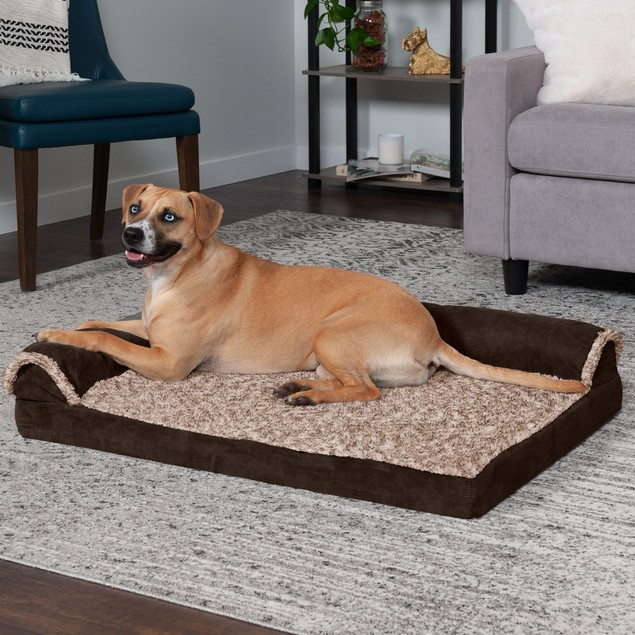 FurHaven Faux Fur & Suede Deluxe Chaise Lounge Cooling Gel Pet Bed