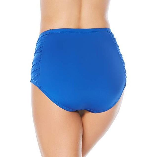 Jantzen Women's Solid Side Shirred High Waist Bikini Bottom, Night Oce