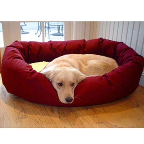 """32"""" Medium Poly / Cotton Waterproof Cushion Burgundy and Sherpa Bagel Bed"""