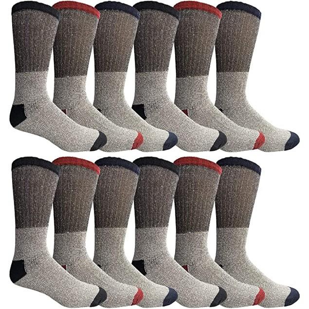 12 Pair: Men's Big & Tall Thermal Insulated Crew Socks