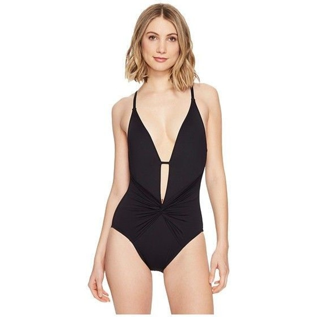 La Blanca Women's Island Goddess One Piece Plunge Swimsuit Black SZ 14