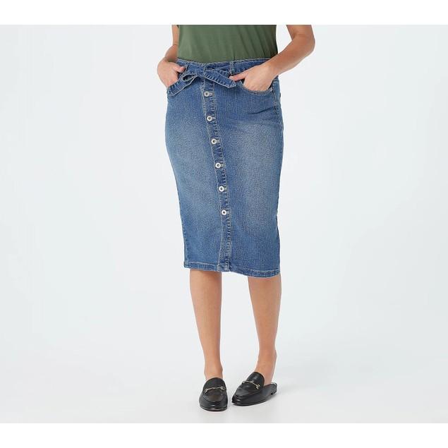 Denim & Co. Button Front Denim Skirt with Self-Tie, Reg 2, Antique Wash