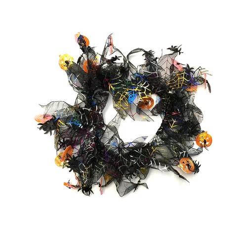 Midlee Pumpkin & Spider Web Halloween Decorative Dog Collar