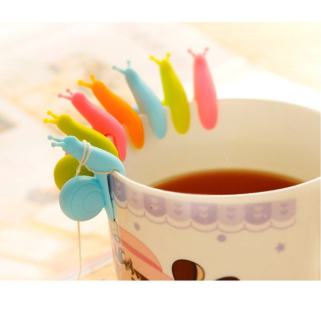 Set of 5 Silicone Snail Tea Bag Holders