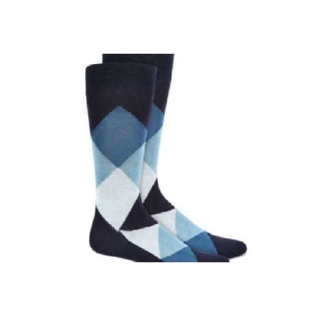 Alfani Men's Argyle Socks Blue Size Regular