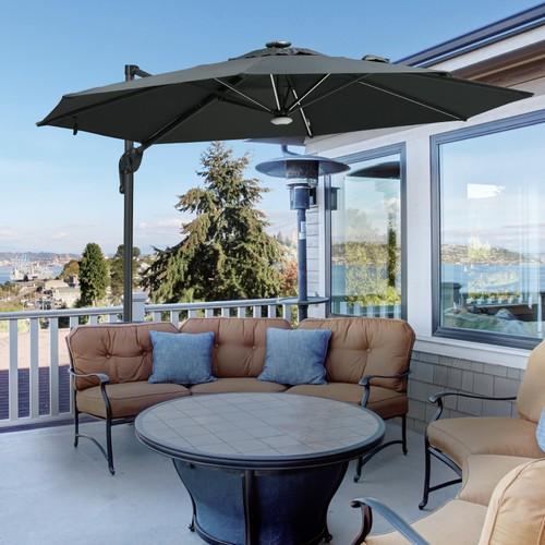 10 ft Outdoor Porch Umbrella w/ UV-Fighting Polyester & Aluminum Pole, Grey