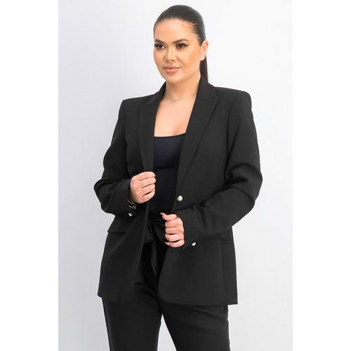 Calvin Klein Women's Imitation Pearl Open-Front Jacket Black Size 4