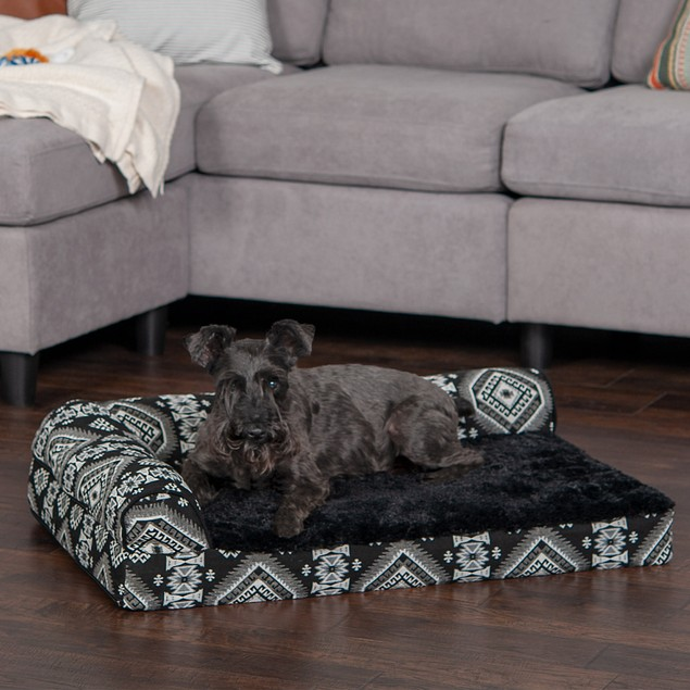 FurHaven Orthopedic Kilim Deluxe L-Chaise Lounge Pet Bed