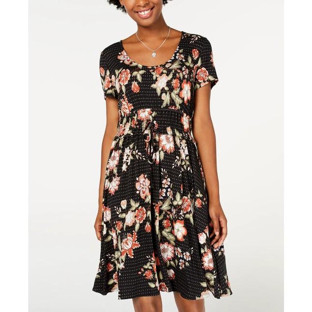American Rag Junior's Printed Drawstring Waist Dress Black Size Large