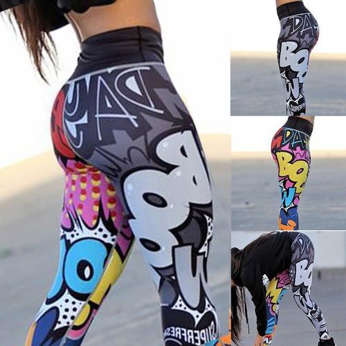 Women's Letter Print Pants Slim Yoga Pants