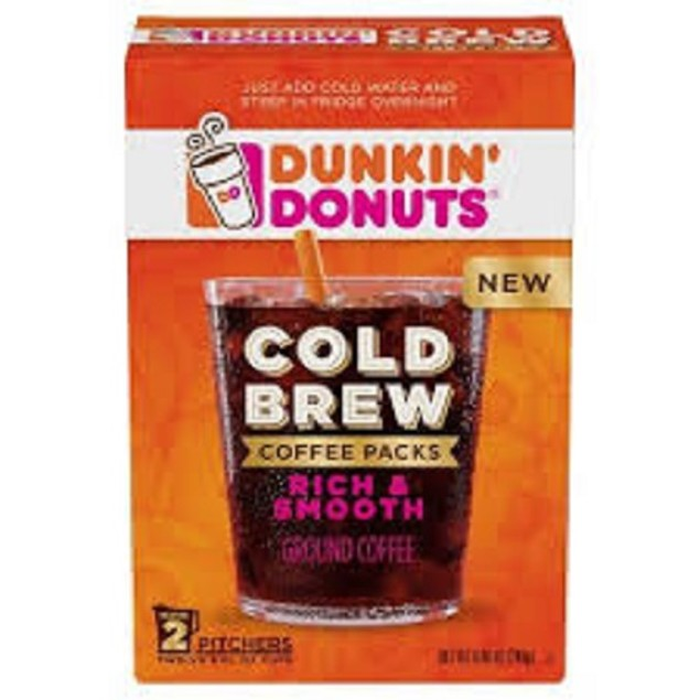 Dunkin' Donuts Cold Brew Coffee Packs Rich & Smooth Ground Coffee