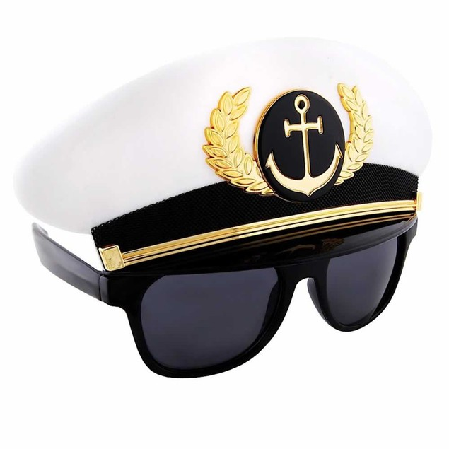 Captain Sunstache Moustache Sunglasses Shades Costume Accessory Boat
