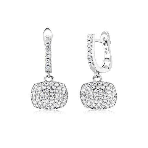 Sterling Silver Oval Cushion Shape Pave Cubic Zirconia Drop Dangle Earrings