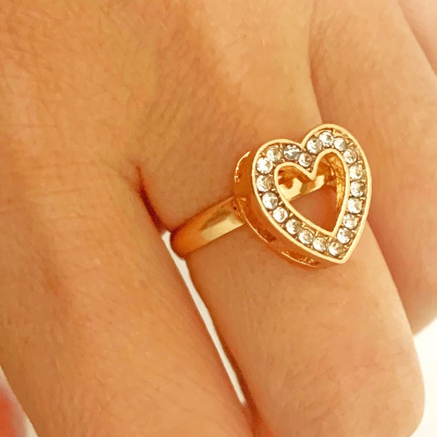 Stylish Heart 14k Gold with Sparkler - 4 Piece Women Jewelry Set