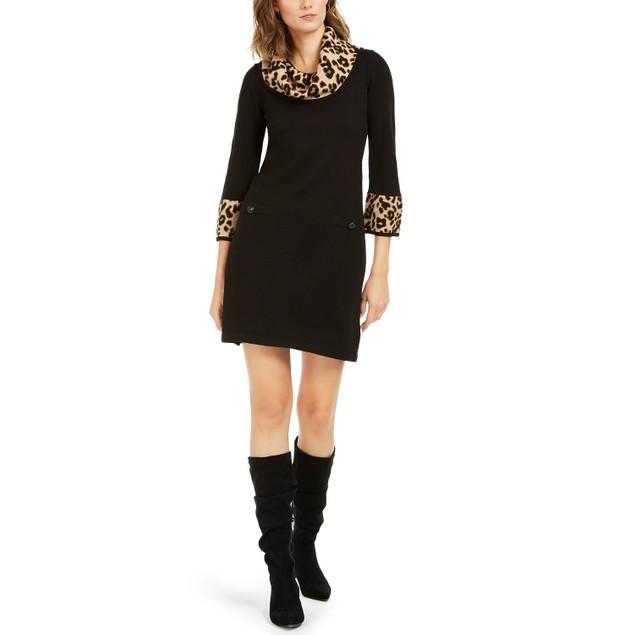 Jessica Howard Women's Animal Print Trim Sweater Dress Black Size Large