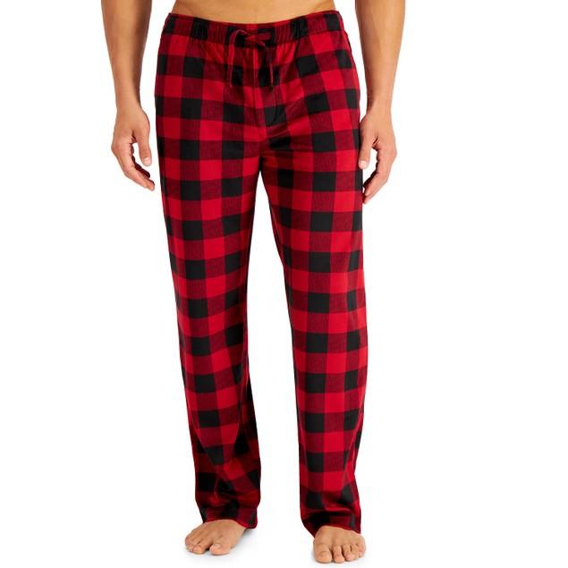 Perry Ellis Men's Buffalo Plaid Fleece Pajama Pants Red Size Medium