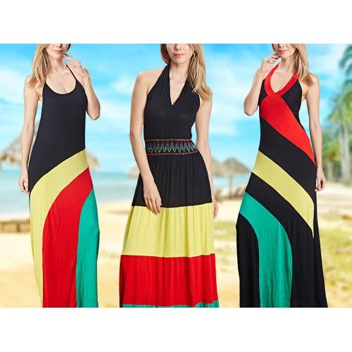 Women's Beautiful Halterneck Summer Print Sleeveless Dress