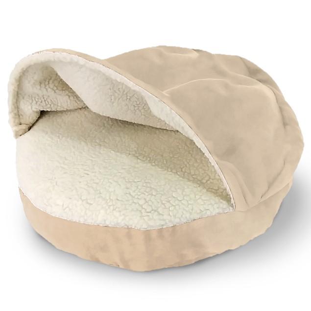 Round Faux Sheepskin Snuggery Pet Bed