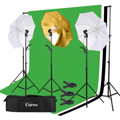 Photo Photography Umbrella Lighting Kit Studio Light Bulb Non-Woven Fabric Backdrop Stand