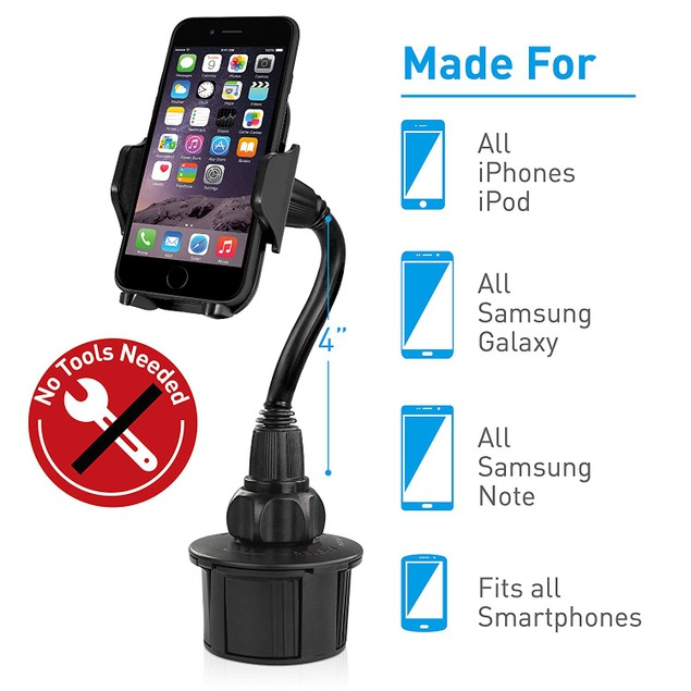 Universal Adjustable Gooseneck Car Cup Mount for Mobile Phones